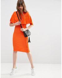 ASOS - Red Rib Ruffle Detail Column Dress - Lyst