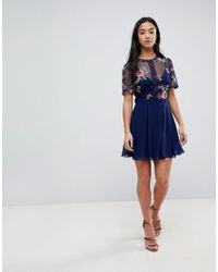 Little Mistress - Blue Embroidered Top Mini Skater Dress - Lyst