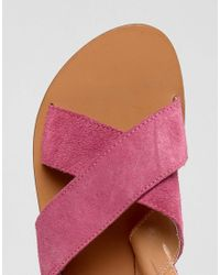 Warehouse - Pink Cross Front Slingback Sandal - Lyst