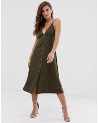 Vestido midi amplio de tirantes con botones ASOS de color Green