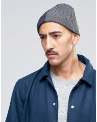 ASOS Blue Half And Half Beanie In Navy And Grey for men