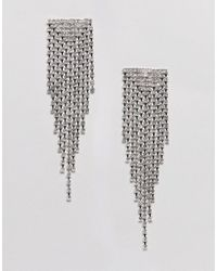 ASOS - Metallic Earrings With Crystal Drop Design In Silver - Lyst