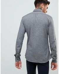 HUGO Extra Slim Fit Jersey Salt And Pepper Shirt In Gray for men