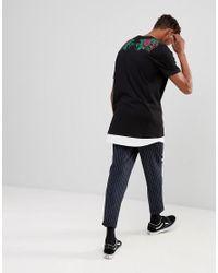 ASOS Black Asos Super Longline T-shirt With Pixel Rose Back Print And Hem Extender for men