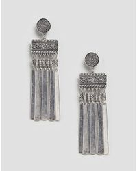 ASOS - Metallic Engraved Disc And Bar Chain Tassel Earrings - Lyst