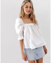 Top de algodón de manga larga con cuello cuadrado de -Blanco ASOS de color White