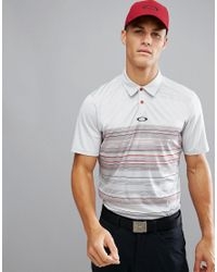 Oakley - Gray Golf High Crest Polo Varied Stripe Regular Fit In Grey/red for Men - Lyst