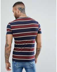 River Island Blue Muscle Fit T-shirt In Navy Stripe for men