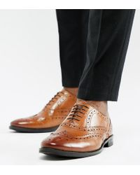 Светло-коричневые Кожаные Броги Для Широкой Стопы ASOS для него, цвет: Brown