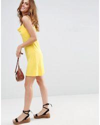 ASOS - Yellow Cowl Neck Slip Mini Dress - Lyst