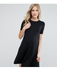 ASOS Black Swing Dress With Short Sleeve