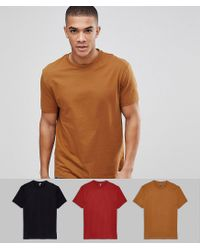 Relaxed fit t-shirt with crew neck 3 pack MULTIPACK SAVING ASOS de hombre de color Brown