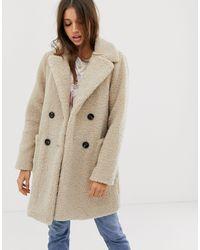 Кремовое Пальто Из Искусственного Меха -кремовый New Look, цвет: Natural