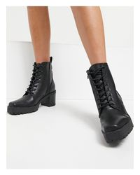 NA-KD Black Square Toe Lace Up Boot