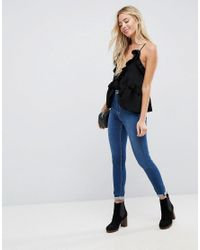 ASOS - Black Swing Ruffle Cami With Plunge - Lyst