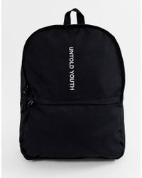 ASOS Backpack In Black With Untold Youth Slogan for men