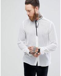 ASOS White Asos Regular Fit Shirt With Frill Neck & Black Neck Tie for men