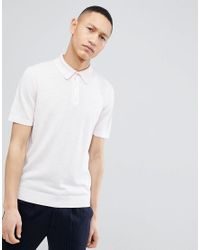 Reiss Knitted Polo In Pink for men