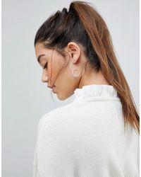 Pieces | Metallic Sterling Silver Roliva Hoop Earrings | Lyst