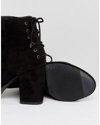 Dune - Black Olli Lace Back Heeled Ankle Boots - Lyst