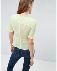 ASOS Green Sheer Tea Blouse With Scallop Detail