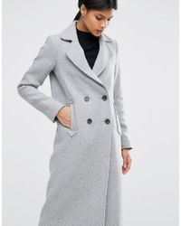 ASOS Gray Wool Blend Coat With Raw Edges And Pocket Detail