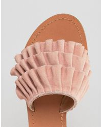 ASOS Pink Fion Suede Ruffle Sliders