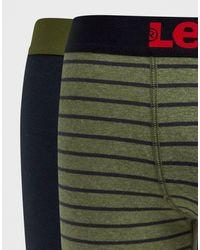 Confezione da 2 boxer aderenti kaki a righe di Levi's in Green da Uomo