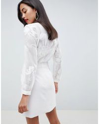 Reiss White Rosemary Lace Top Pocket Dress