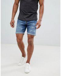 Short en jean effet vieilli SELECTED pour homme en coloris Blue
