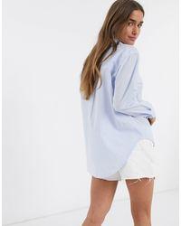 Camicia blu rigato con bottoni di New Look in Blue