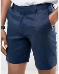 ASOS - Blue Slim Mid Length Linen Mix Shorts In Navy for Men - Lyst