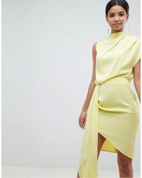 ASOS - Yellow Design Satin Drape Midi Dress With Sash Detail - Lyst