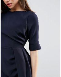 Vesper Blue 3/4 Sleeve Pencil Dress With Pleat Detail