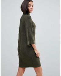 Noisy May Tall Green High Neck Knitted Dress