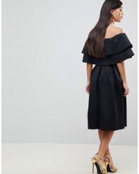 ASOS - Black Ruffle Off Shoulder Midi Dress - Lyst