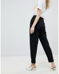Miss Selfridge - Black Turn Up Tapered Trousers - Lyst