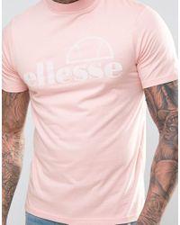 Ellesse - Pink High Neck T-shirt With Flock Logo for Men - Lyst
