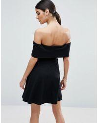 ASOS - Black Deep Bardot Mini Skater Dress - Lyst