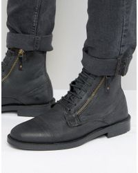 ASOS - Lace Up Boots In Black Suede With Zip Detail for Men - Lyst