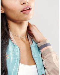 Dogeared - Metallic Sterling Silver Pearls Of Happiness Friendship Ajustable Choker - Lyst