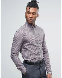 Calvin Klein | Red Slim Fit Gingham Checked Shirt for Men | Lyst
