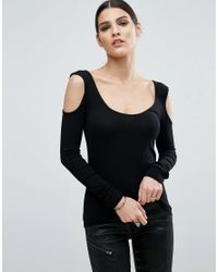 ASOS | Black Top With Cold Shoulder And Scoop Neck In Clean Rib | Lyst