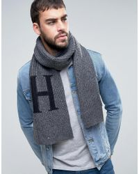 Tommy Hilfiger | Gray H Wool Blend Scarf for Men | Lyst