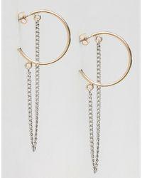 Monki | Metallic Hoop Chain Earrings | Lyst