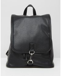 Monki - Black Faux Leather Clasp Backpack - Lyst