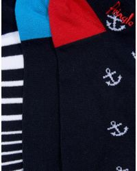 Pringle of Scotland - Blue Invisible Socks In 3 Pack With Ancor And Stripe Print for Men - Lyst