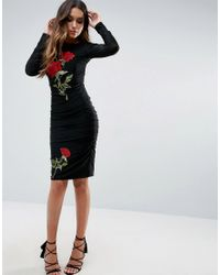 Club L Black Floral Embroided Detailed Slinky Ruched Dress