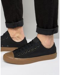 Converse Chuck Taylor All Star Ii Ox Sneakers With Gum Sole In Black 155501c for men