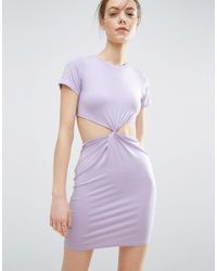ASOS   Purple Twist Front Mini Bodycon Dress With Cut Out   Lyst
